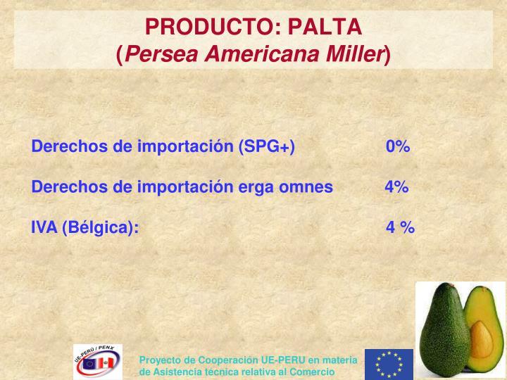 PRODUCTO: PALTA