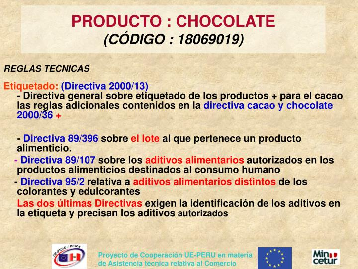 PRODUCTO : CHOCOLATE