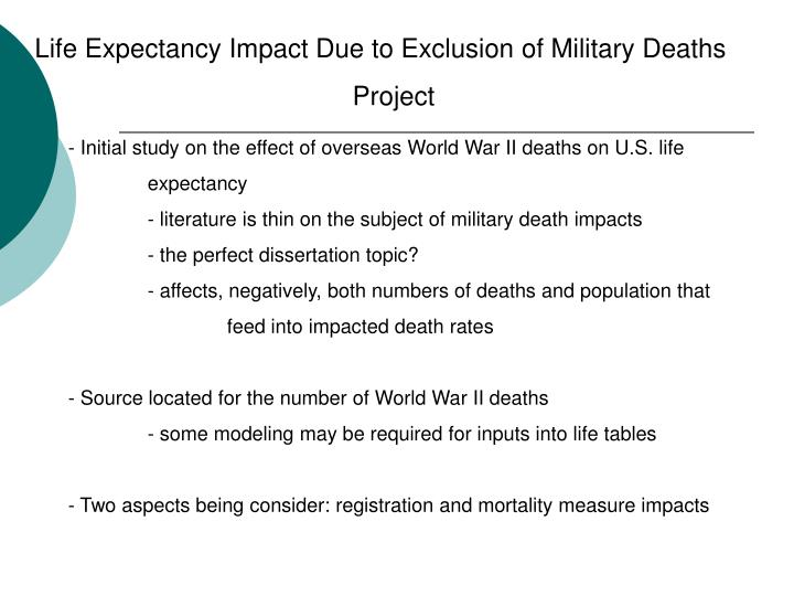 Life Expectancy Impact Due to Exclusion of Military Deaths