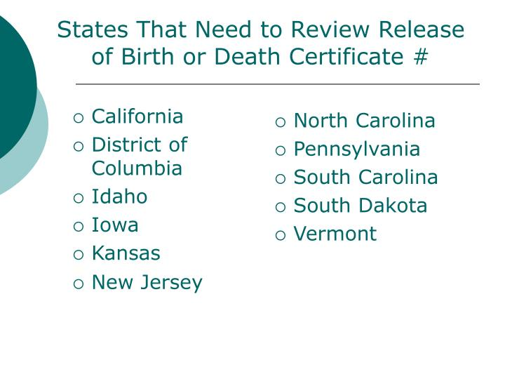 States That Need to Review Release of Birth or Death Certificate #