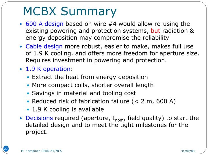 MCBX Summary