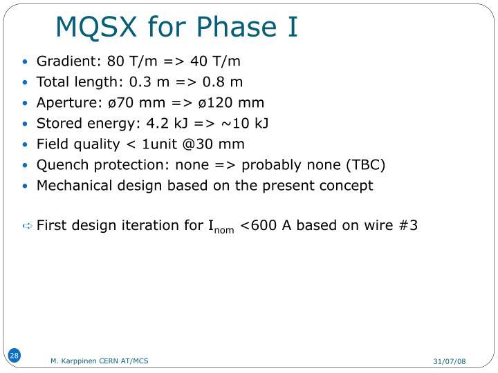 MQSX for Phase I