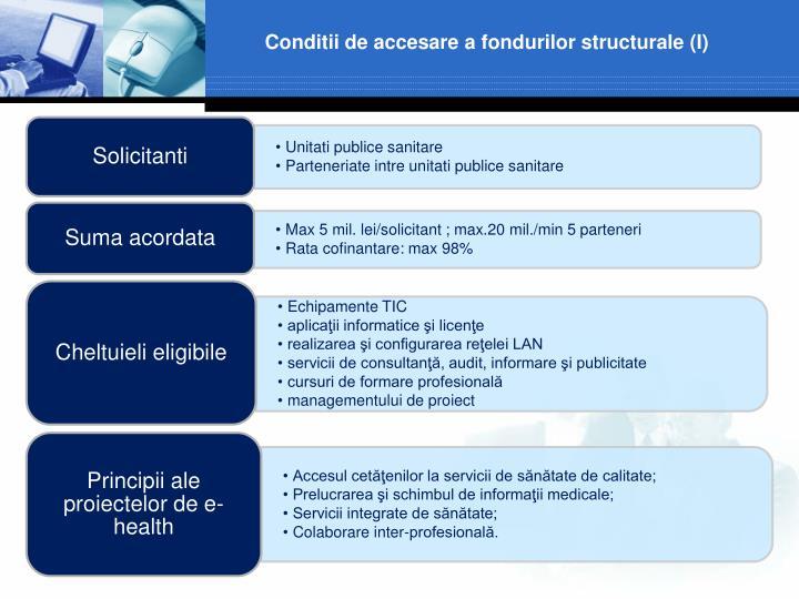 Conditii de accesare a fondurilor structurale (I)