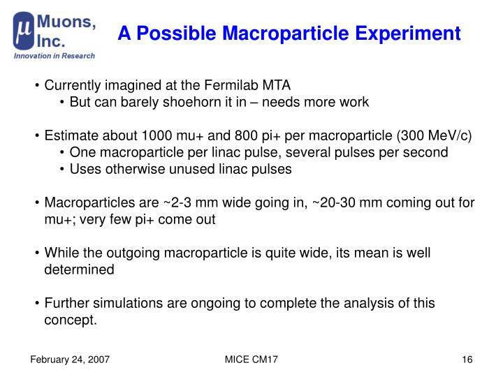 A Possible Macroparticle Experiment