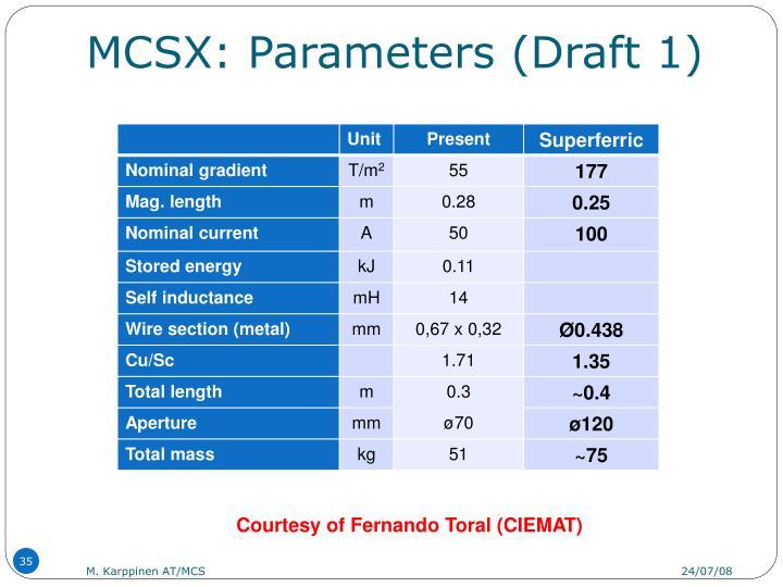 MCSX: Parameters (Draft 1)