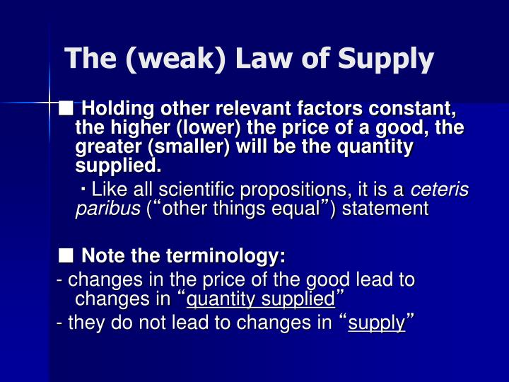 The (weak) Law of Supply