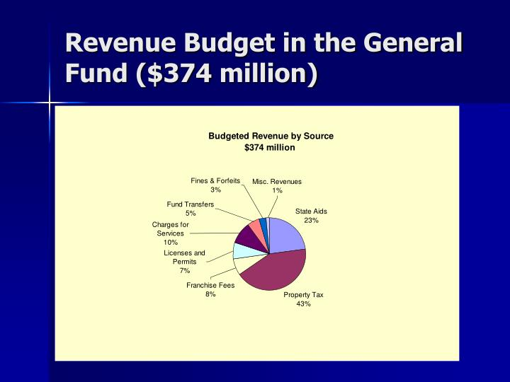 Revenue Budget in the General Fund ($374 million)
