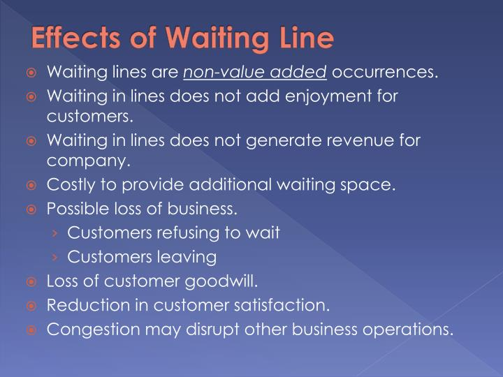 Effects of Waiting Line