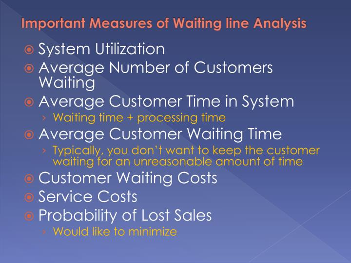 Important Measures of Waiting line Analysis