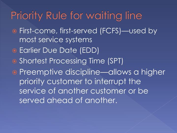 Priority Rule for waiting line