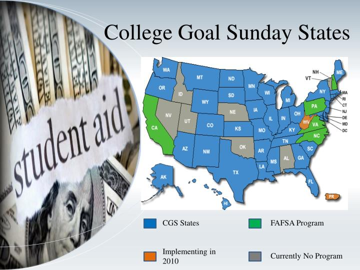 College Goal Sunday States