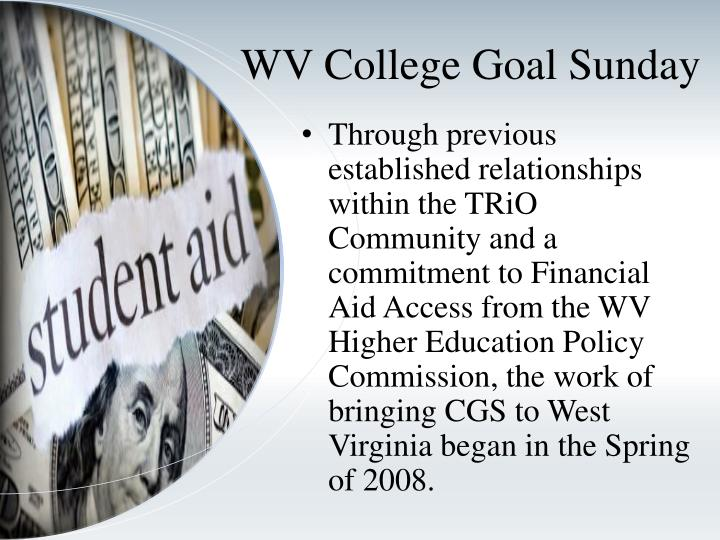 WV College Goal Sunday