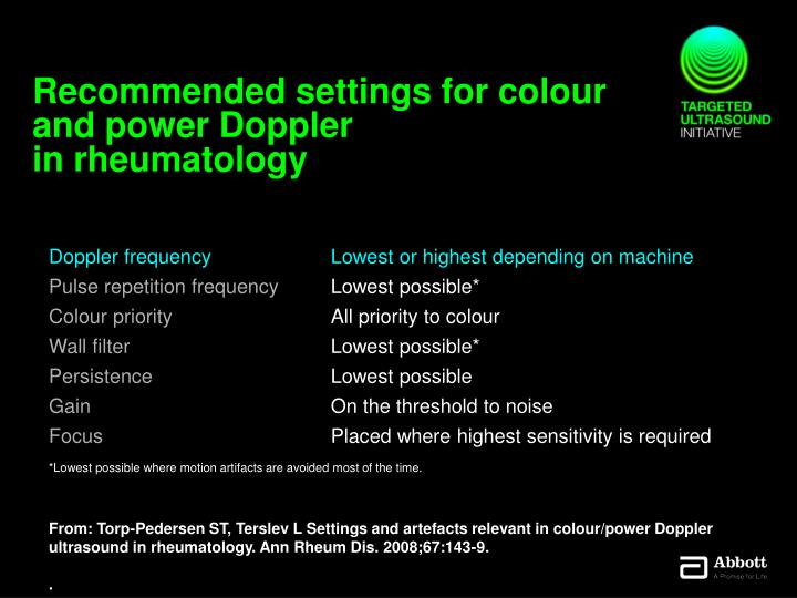 Recommended settings for colour and power Doppler