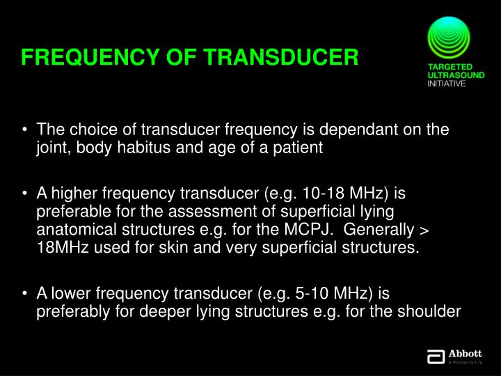 Frequency of transducer