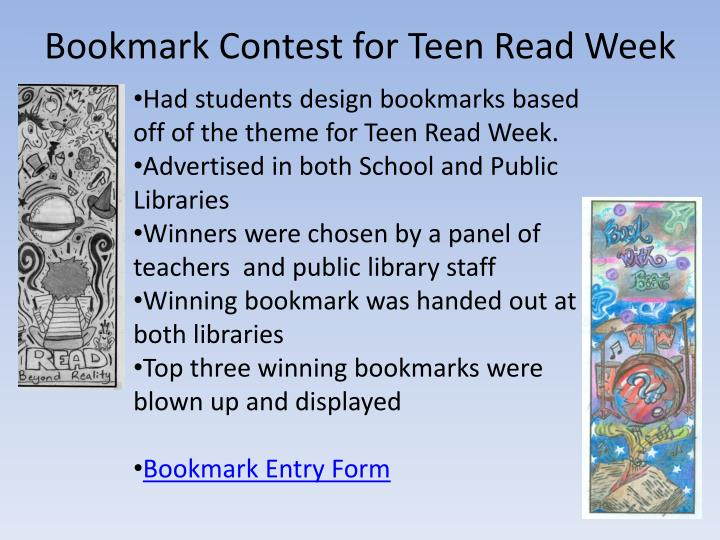 Bookmark Contest for Teen Read Week