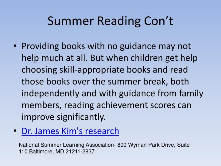 Summer Reading Con't
