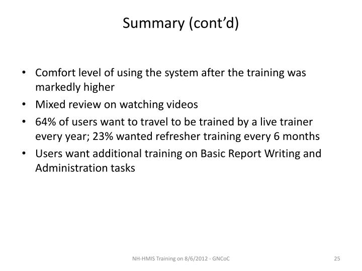 Summary (cont'd)