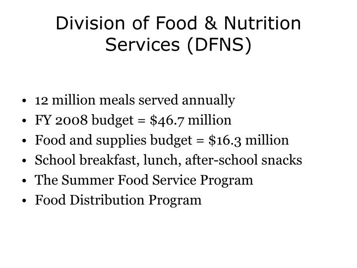 Division of Food & Nutrition Services (DFNS)