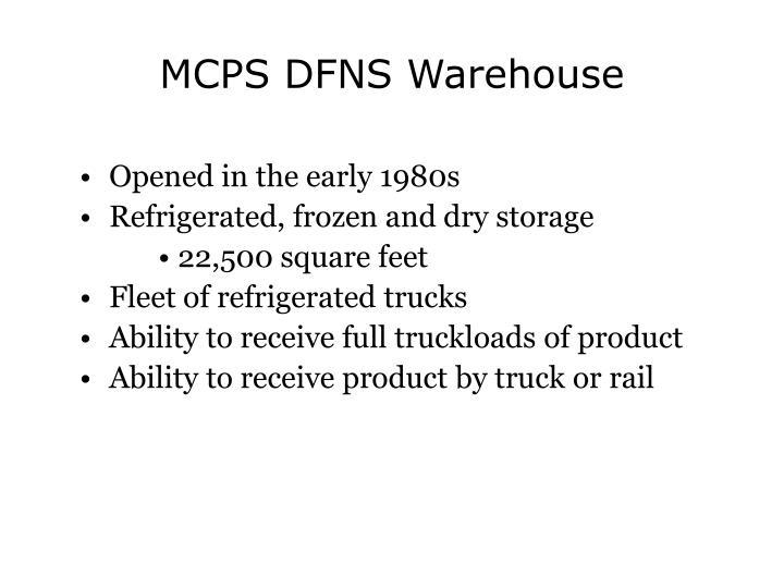 MCPS DFNS Warehouse