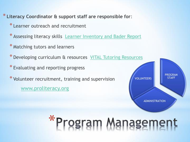 Literacy Coordinator & support staff are responsible for