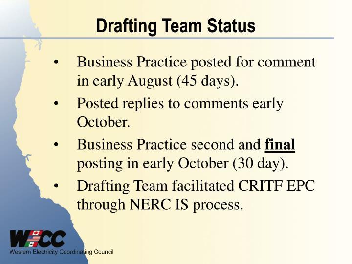 Drafting Team Status