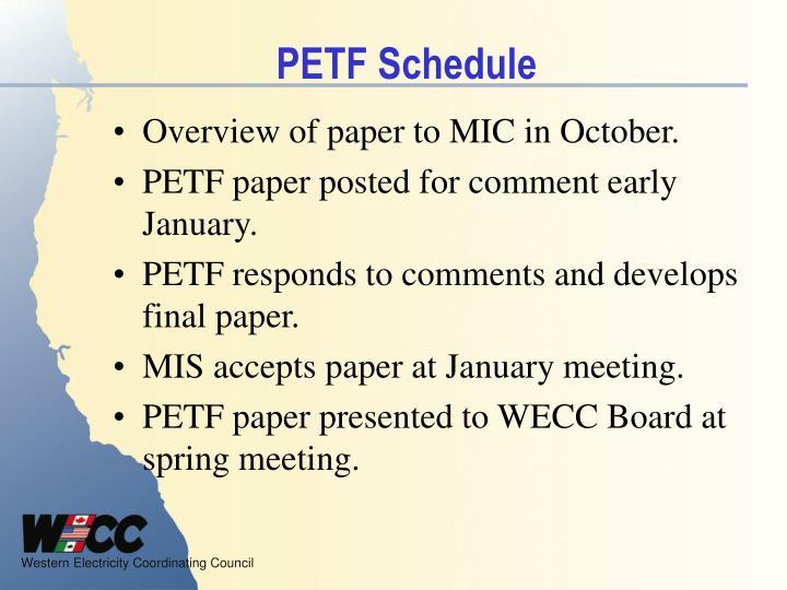 PETF Schedule