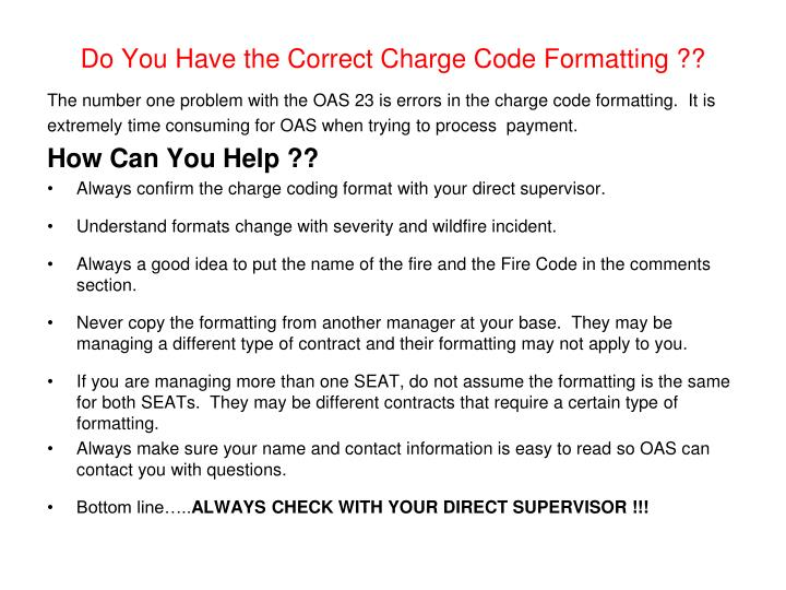 Do You Have the Correct Charge Code Formatting ??