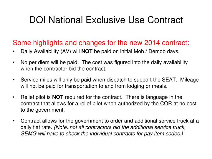 DOI National Exclusive Use Contract