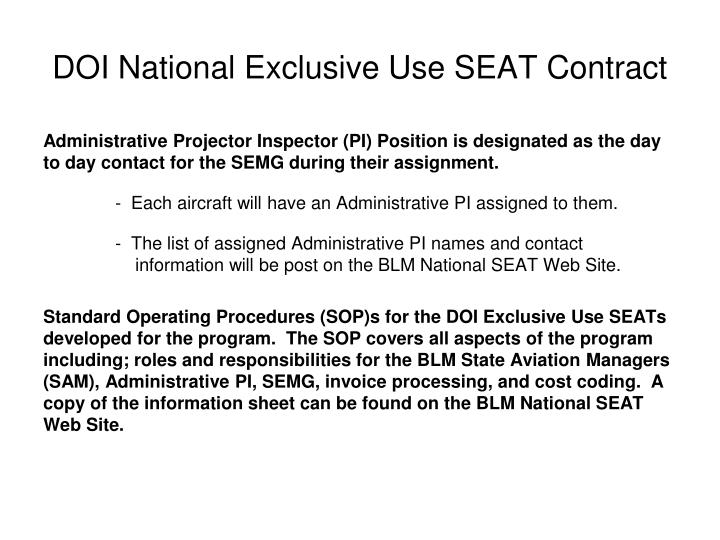 DOI National Exclusive Use SEAT Contract