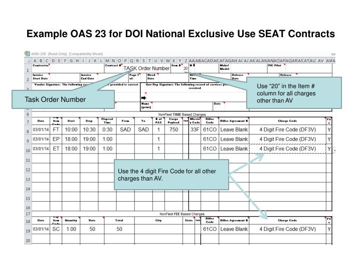 Example OAS 23 for DOI National Exclusive Use SEAT Contracts