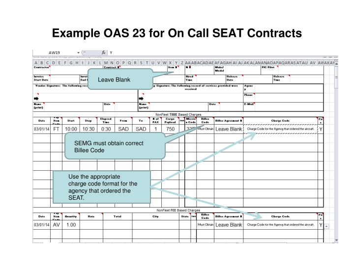 Example OAS 23 for On Call SEAT Contracts