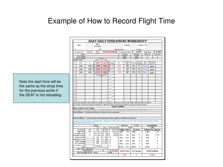 Example of How to Record Flight Time