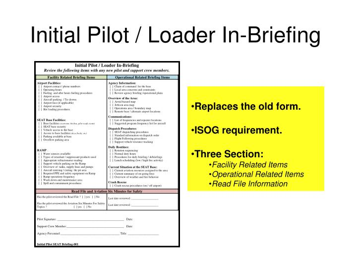 Initial Pilot / Loader In-Briefing