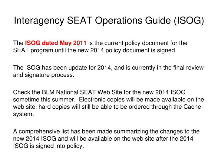 Interagency SEAT Operations Guide (ISOG)