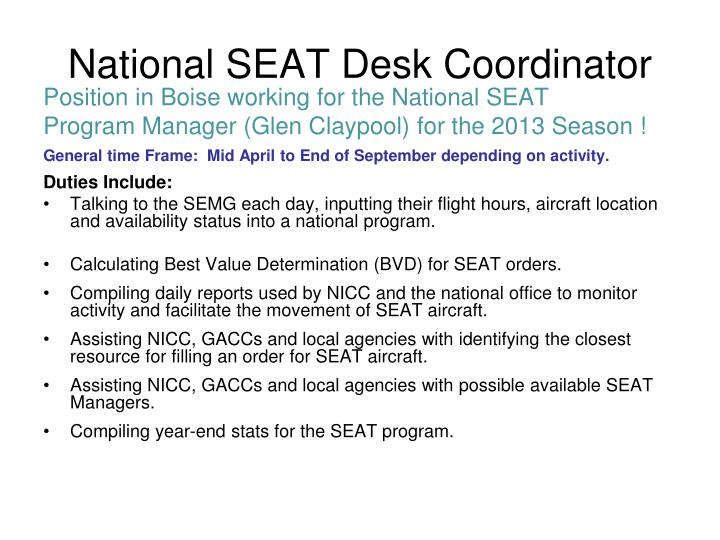 National SEAT Desk Coordinator