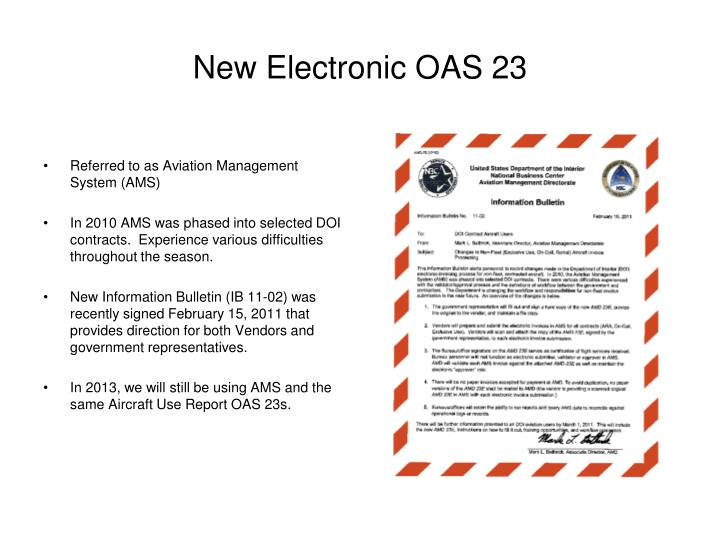 New Electronic OAS 23