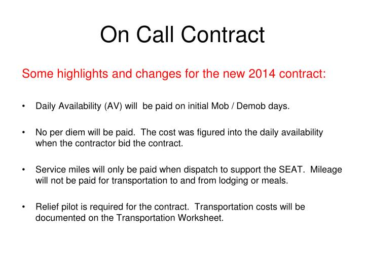 On Call Contract