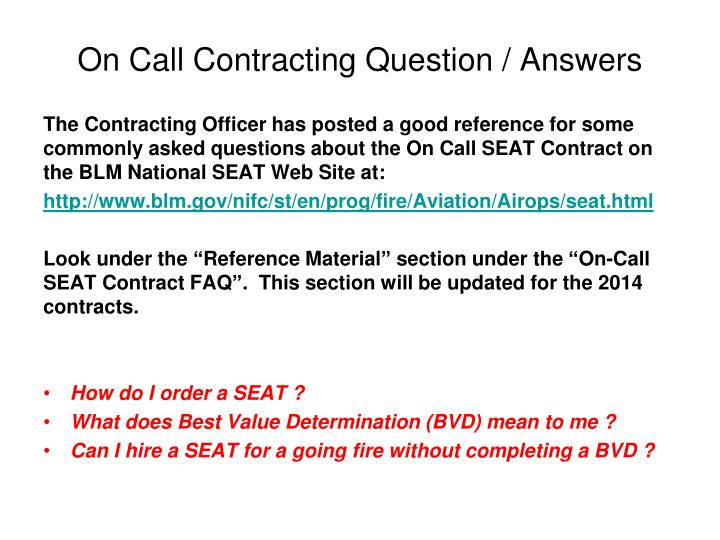 On Call Contracting Question / Answers
