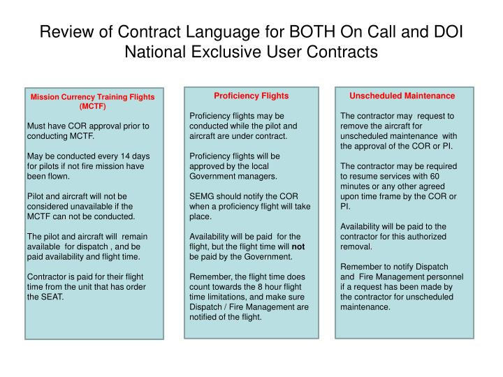 Review of Contract Language for BOTH On Call and DOI National Exclusive User Contracts