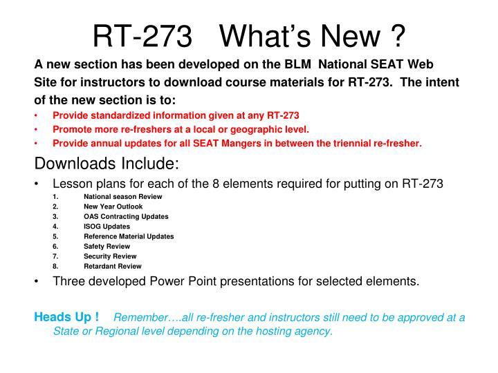 RT-273   What's New ?