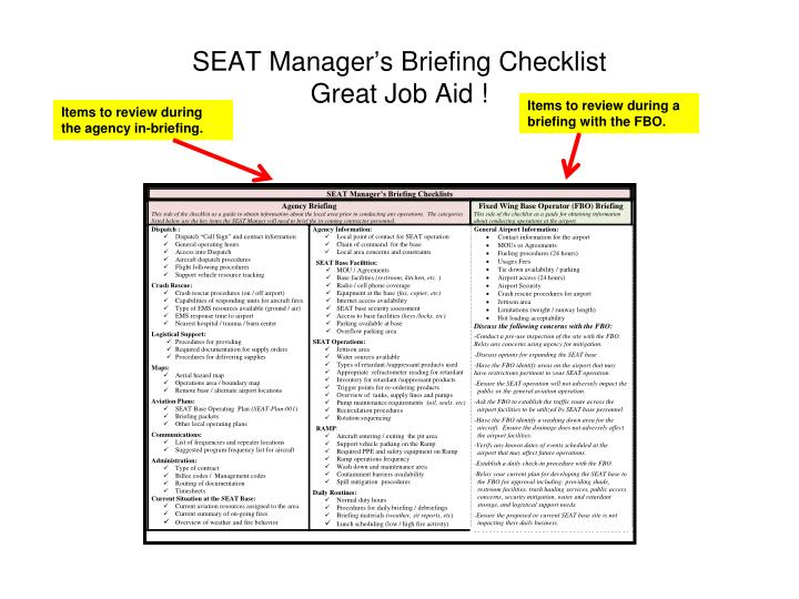 SEAT Manager's Briefing Checklist