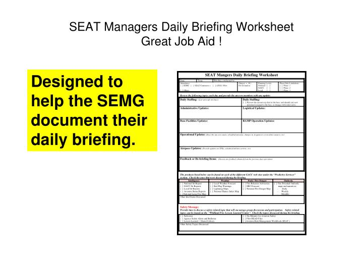 SEAT Managers Daily Briefing Worksheet