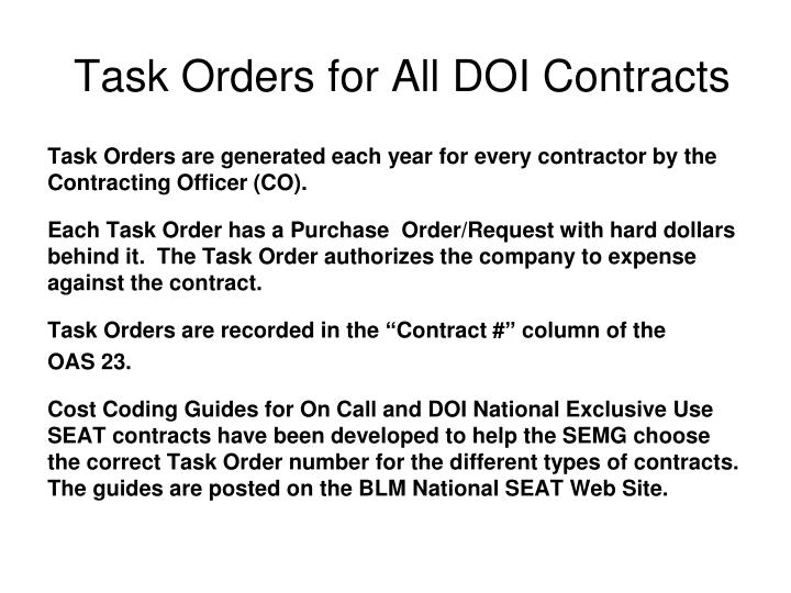 Task Orders for All DOI Contracts
