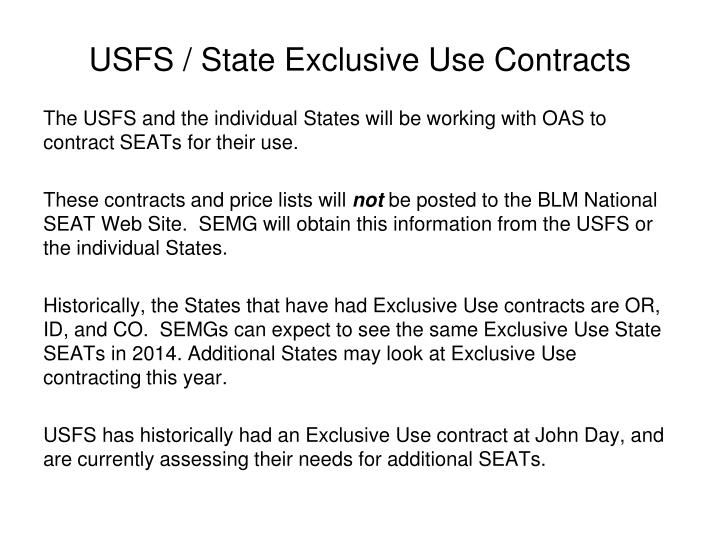 USFS / State Exclusive Use Contracts