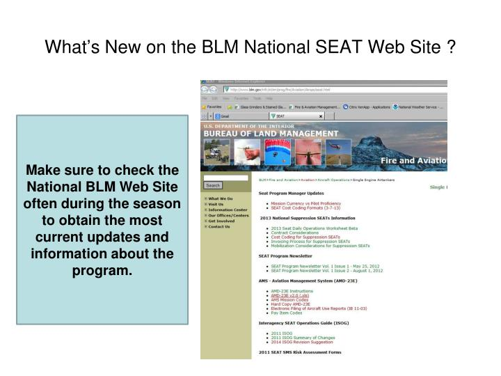 What's New on the BLM National SEAT Web Site ?