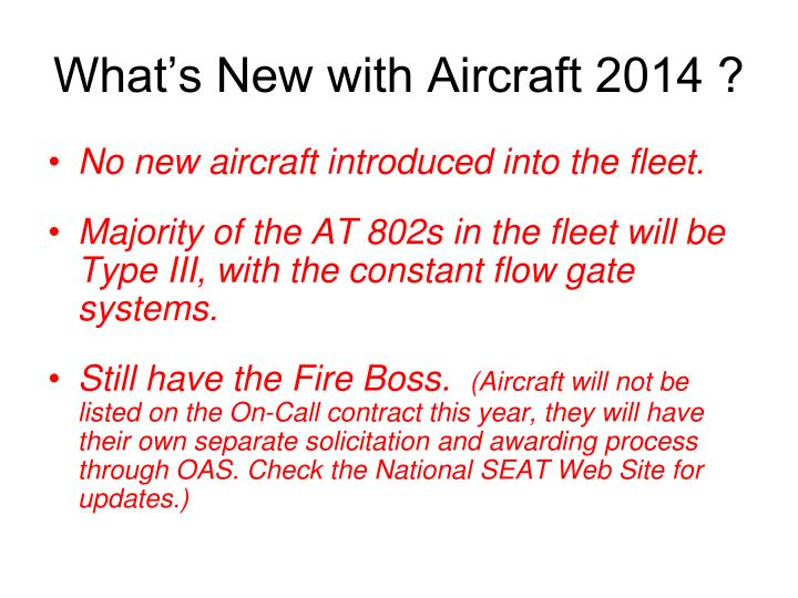 What's New with Aircraft 2014 ?