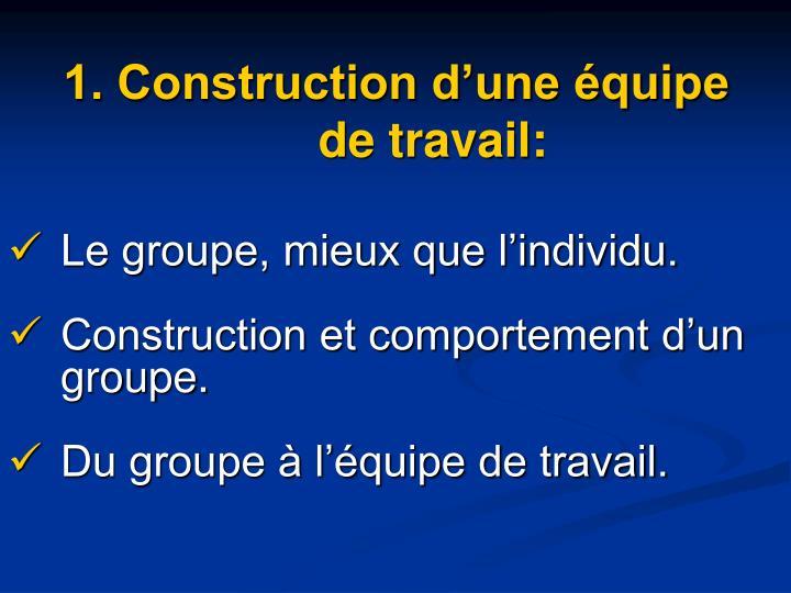 1. Construction d'une équipe de travail: