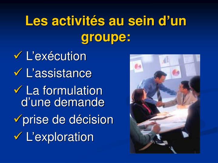 Les activités au sein d'un groupe: