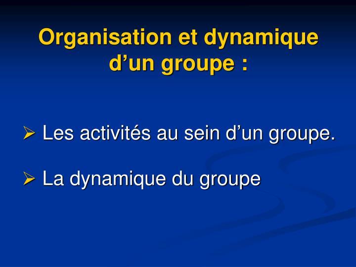 Organisation et dynamique d'un groupe:
