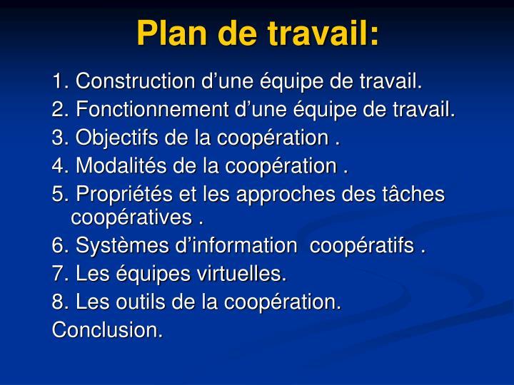 Plan de travail: